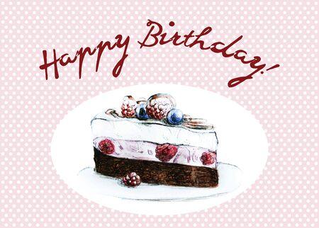 trozo de pastel: Piece of cake - Hand Drawn Sketch - Happy Birthday