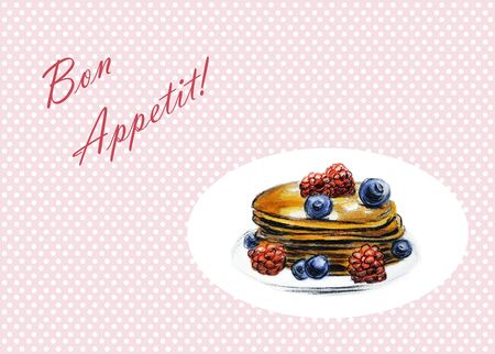 Pancakes with berries - Hand Drawn Sketch - Bon Appetit Stock Photo