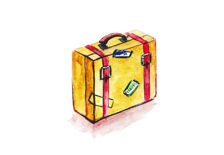 valise: Travel suitcase with stickers. Watercolor illustration.