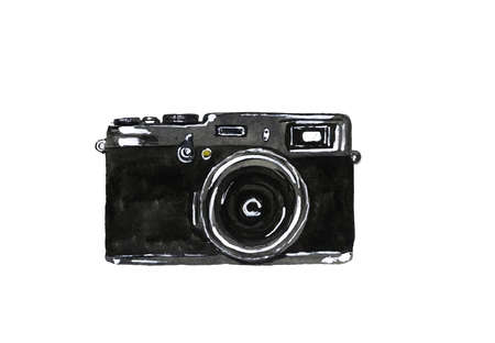 Hand-drawn watercolor camera on white background