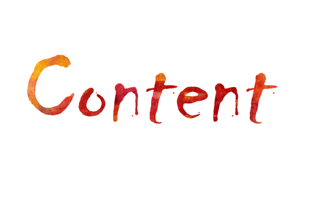 keyword: The word Content written in watercolor  over a white paper background