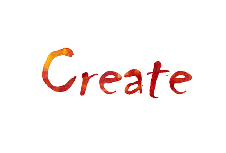 The word Create written in watercolor  over a white paper background
