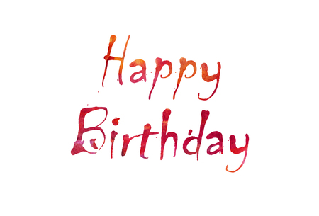 keyword: The word Happy Birthday written in watercolor  over a white paper background