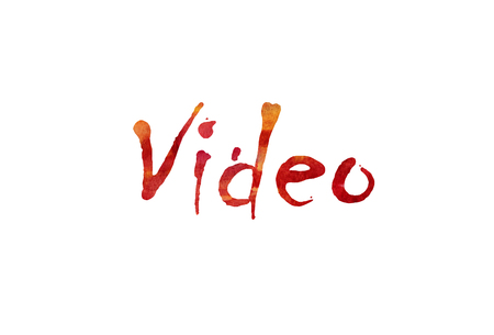 The word Video written in watercolor  over a white paper background