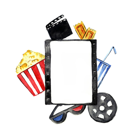 Watercolor sketchy cinema attributes illustration. Film in the center. Stock Photo