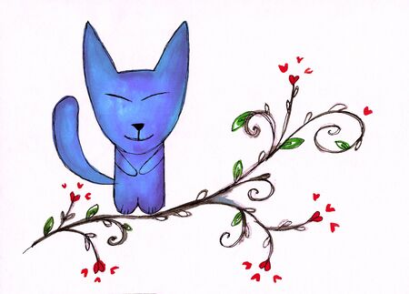 Watercolor illustration of cute cat. Perfect for greeting card Фото со стока