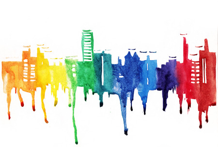 Silhouette of city painted with splashes of watercolor drops streaks in multicolour
