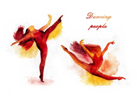 Women dancer silhouette grunge illustration red-yellow watercolor paint