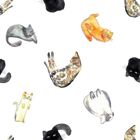 Watercolor illustration of a cat seamless pattern with cats