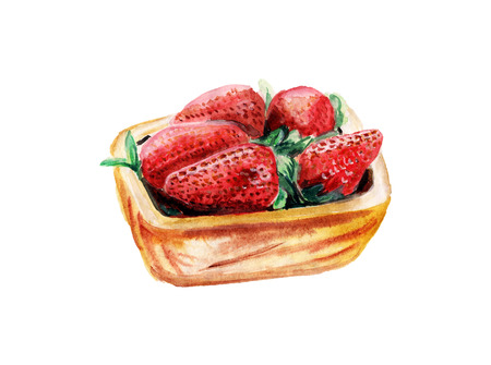 Watercolor strawberry in a wood bowl isolated on white background Фото со стока