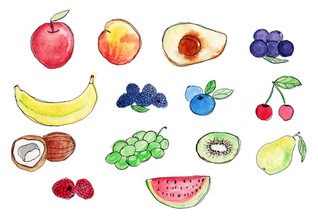 Set of fruits. Watercolor painting on white background. Apple, pear, watermelon, peach, avocado, banana, kiwi, coconut, grapes, berries Apple, pear, watermelon, peach, avocado, banana, kiwi, coconut, grapes, berries