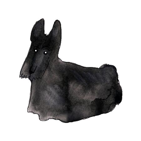 Cute watercolor dog silhouette on the white background. Watercolor art sketch.