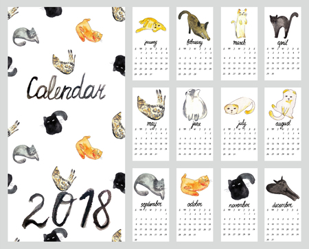 Calendar 2018 with watercolor illustration cats