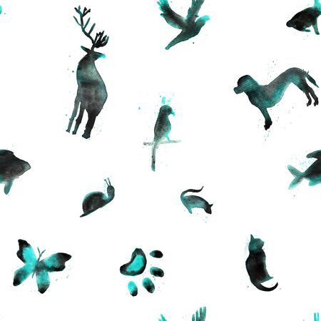 Seamless pattern, watercolor animals, fish, hare, parrot, snail, cat, bird, butterfly, rat, dog, deer on white background