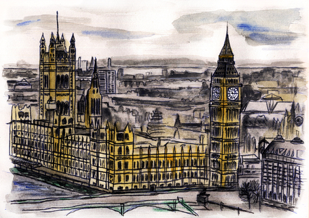 Watercolor hand drawn colorful illustration of London city view