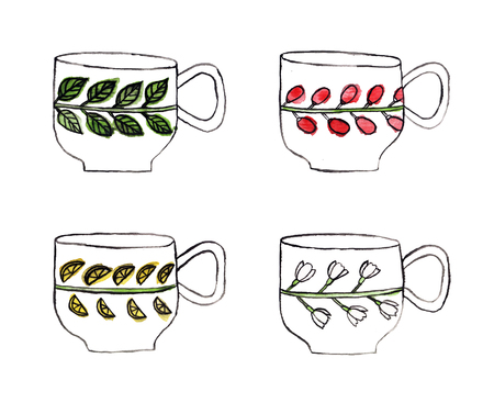 Set of teacups and mugs painted by watercolor. Hand drawn illustration. Фото со стока