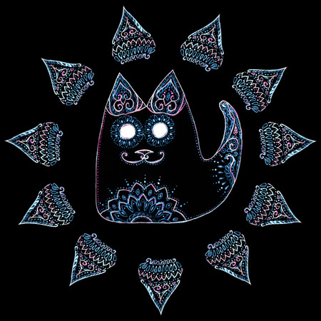 Cat in the circle with patterns and ornaments on black background