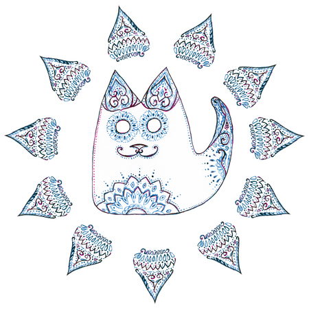 Cat in the circle with patterns and ornaments on white background