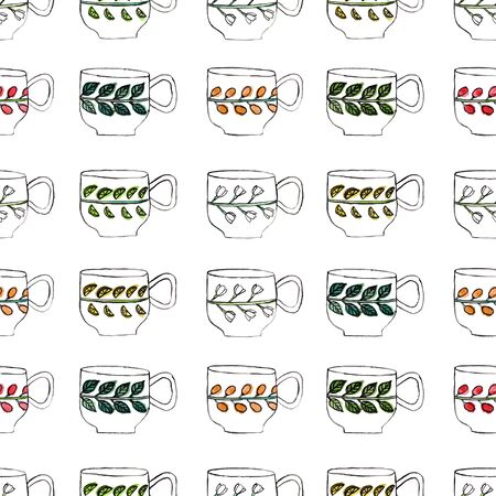 Seamless pattern with teacups drawing and watercolor, hand drawn artistic painting illustration