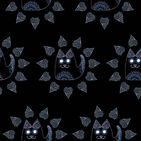 Seamless pattern with cat in the circle with patterns and ornaments on black background