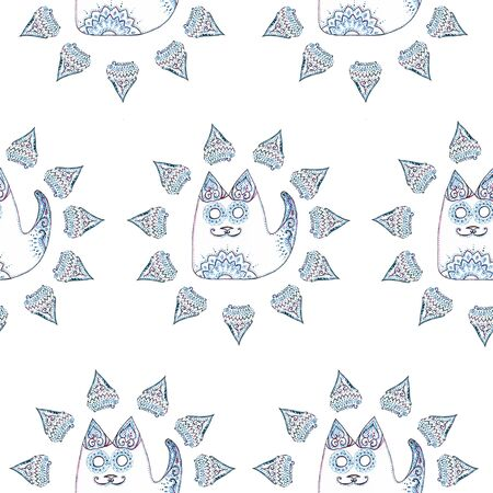 Seamless pattern with cat in the circle with patterns and ornaments on white background Фото со стока