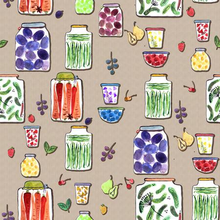 Modèle sans couture avec illustration aquarelle avec différents pots avec des confitures de fruits en conserve, des légumes et des baies. Banque d'images - 87241622