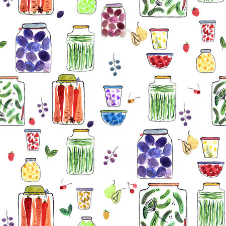 Seamless pattern with watercolor illustration with different jars with canned fruit jams, vegetables and berries. Фото со стока