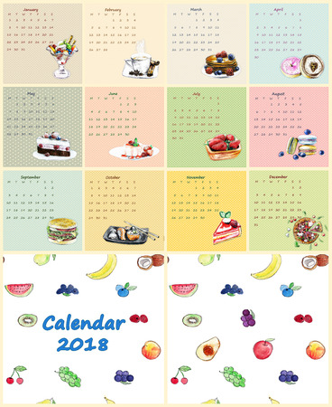 Calendar 2018. Food hand made in sketch style.