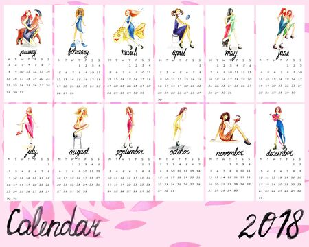 Calendar for 2018 with cute girls. Watercolor illustration