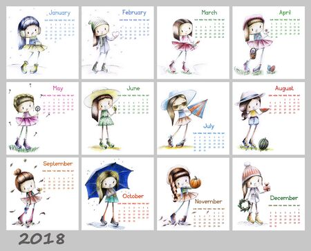 Calendar for 2018 with cute season girl. Sketch girls illustration