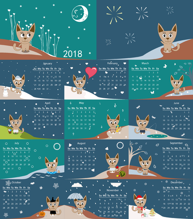 Calendar 2018. Cute cats for every month. Vector
