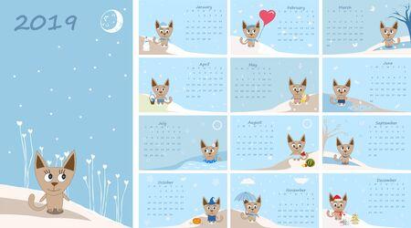 Calendar 2019. Cute cats for every month. Фото со стока