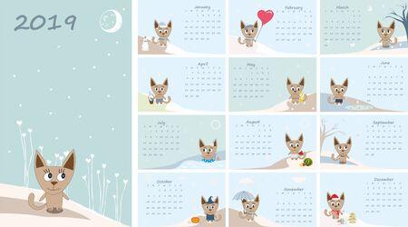 Calendar 2019. Cute cats for every month. Иллюстрация