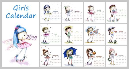 Calendar for 2019 with cute season girl. Sketch girls illustration Фото со стока