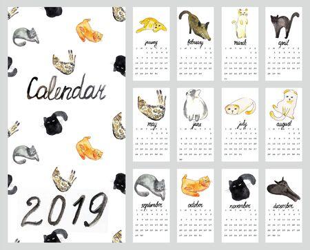 Calendar 2019 with watercolor illustration cats Фото со стока