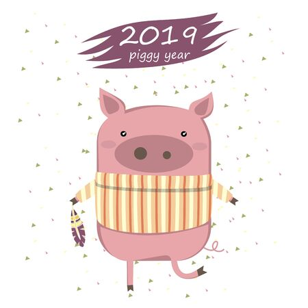 Creative postcard for New 2019 Year with cute pig. Illustration cartoon isolated. Иллюстрация