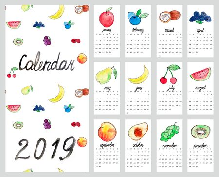 Calendar 2019. Cute monthly calendar with fruits. Hand drawn style illustration.