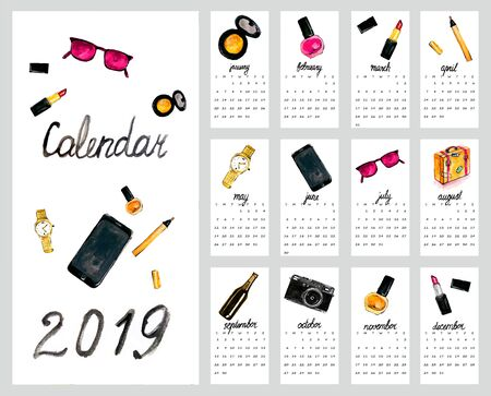 Calendar 2019. Cute monthly calendar with womens accessories Hand drawn style illustration. Imagens