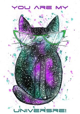 Watercolor cute space cat on the white background - Illustration Фото со стока