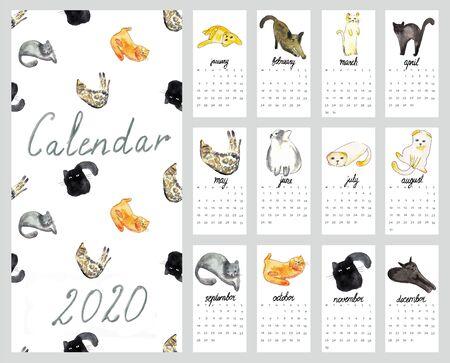 Calendar 2020 with watercolor illustration cats Фото со стока
