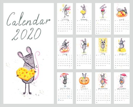 Calendar 2020 with watercolor illustration mice