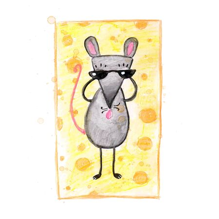 Watercolor hand drawn sketch illustration of Gray mouse on the beach isolated on white