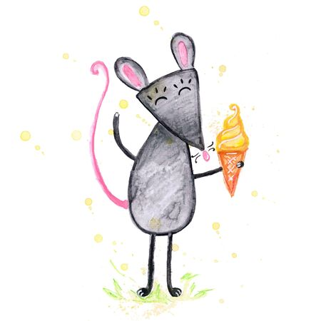 Watercolor hand drawn sketch illustration of Gray mouse with ice cream isolated on white Фото со стока