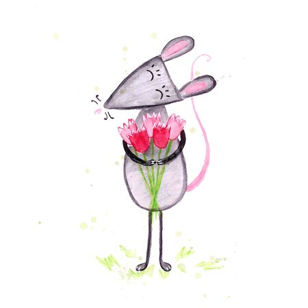 Watercolor hand drawn sketch illustration of Gray mouse with a bouguet of tulips isolated on white