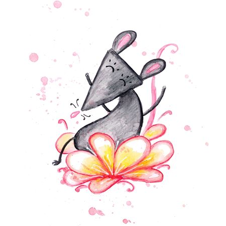 Watercolor hand drawn sketch illustration of Gray mouse on a beautiful flower isolated on white Фото со стока