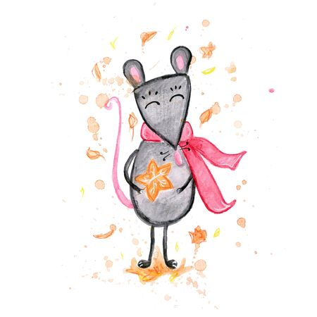 Watercolor hand drawn sketch illustration of autumn Gray mouse in a scarf isolated on white Фото со стока