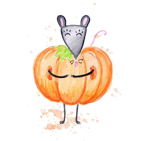 Watercolor hand drawn sketch illustration of autumn Gray pumpkin mouse isolated on white