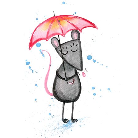Watercolor hand drawn sketch illustration of Gray mouse with a red umbrella isolated on white