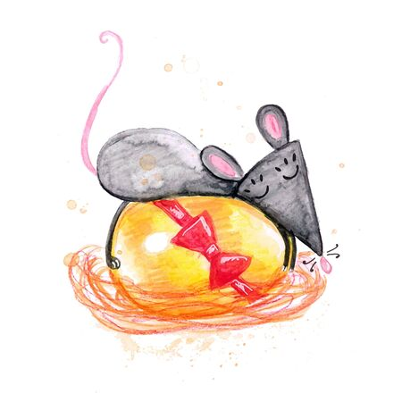 Watercolor hand drawn sketch illustration of Gray mouse lays on an Easter egg isolated on white