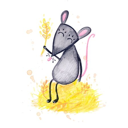 Watercolor hand drawn sketch illustration of Gray mouse in the hay isolated on white